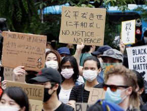various nationalities took to the streets of central Tokyo on Saturday to protest against racial discrimination